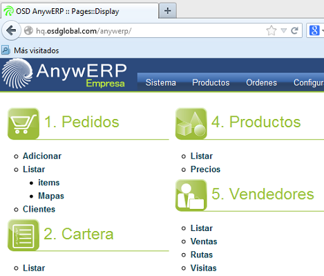 AnywERP - Vista Inicial
